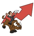 Businessman is riding bull 3 vector image vector image