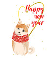 christmas card with akita inu vector image
