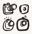 collection hand drawn photo camera labels vector image