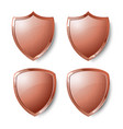 collection of copper shields isolated on whiite vector image