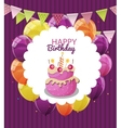 Color Glossy Happy Birthday Balloons Flags and vector image