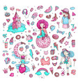 colored set of teenage girl icons cute cartoon vector image