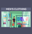 costumer with bag at mans clothing shop vector image