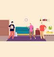 courier service man volunteer for elderly people vector image vector image