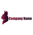 deep purple wild cat logo design on a white vector image vector image