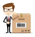 Delivery man is pointing to a box vector image vector image