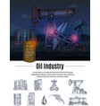 drawn oil industry composition vector image
