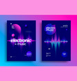 electro music festival dynamic sound wave flyer vector image vector image