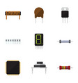 flat icon technology set of resistor cpu vector image vector image