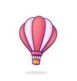 flying hot air balloon with pink and white stripes vector image