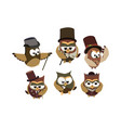 funny owls gentlemen set on isolated background vector image vector image
