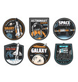 galaxy research space explore and astronaut icon vector image