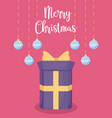gift box with balls decoration of christmas vector image