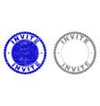 grunge invite scratched stamp seals vector image vector image