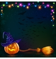 Halloween pumpkin and witch broom on dark vector image vector image