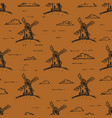 hand drawn windmill seamless pattern background vector image vector image