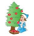 happy woman decorating christmas tree vector image vector image