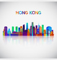 hong kong skyline silhouette in colorful vector image vector image