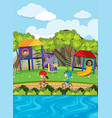 kids playing slide and riding bike in park vector image