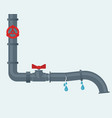 leaking water pipes broken steel pipeline with vector image vector image