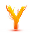 letter y in fire flame icon vector image