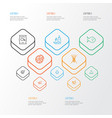 meal icons line style set with menu fruit basket vector image
