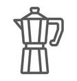 moka pot line icon coffee and cafe coffeemaker vector image