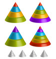 pointed triangular shapes pyramid triangle charts vector image vector image
