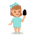 pretty little girl in blue dress eating ice cream vector image