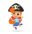 redhead wearing cocked hat with skull dancing vector image