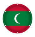 round metallic flag of maldives with screw holes vector image vector image