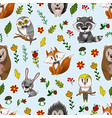seamless pattern with cute baanimals andflowers vector image vector image