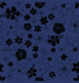 seamless repeat floral pattern on navy background vector image vector image