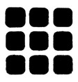 set black drawn square stickers vector image vector image