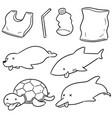 set of aquatic animal and plastic vector image