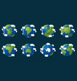 set of globes showing the planet earth with vector image vector image