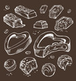 set of sketches bitten chocolates sweet vector image vector image