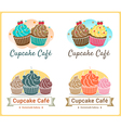 Set of sweet cupcake bakery badge label design vector image vector image