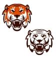 set tiger heads sport team mascot design vector image vector image