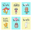 summer animal cards hand drawn vector image vector image