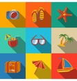 Summer holidays modern flat icons set - coconut vector image vector image