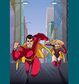 superhero couple running hero leads vector image vector image