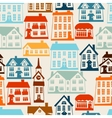 Town seamless pattern with cute colorful houses vector image vector image