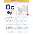 tracing letter c for study alphabet printable vector image