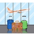 Travel suitcases in airport vector image vector image