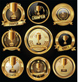 trophy and awards golden badges and labels vector image vector image