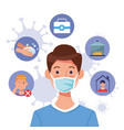 young man using face mask with covid19 set icons vector image vector image