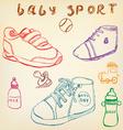 Baby shoes set sketch handdrawn color crayons vector image