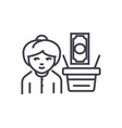 salary woman with money line icon sign vector image