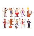 circus artists cartoon characters set vector image